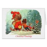 Vintage  Christmas,  Animals learning to ski Greeting Card