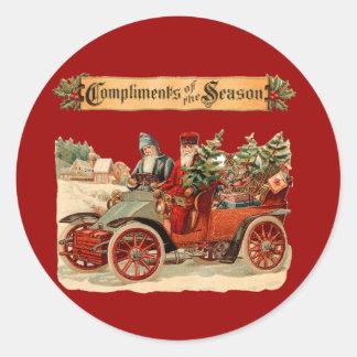 Vintage Christmas Antique Car Classic Round Sticker