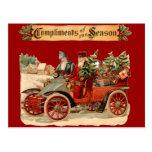 Vintage Christmas Antique Car Postcards
