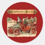 Vintage Christmas Antique Car Sticker