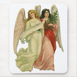 Vintage Christmas, Antique Victorian Angel Die Cut Mouse Pad