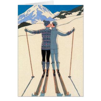 Vintage Christmas Art Deco, Love Romance Kiss Skis Card