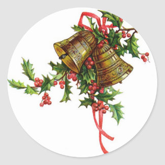 Vintage Christmas art Holly and Bells decorations Classic Round Sticker