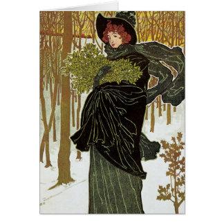 Vintage Christmas Art Nouveau Scribners Cover 1895 Card
