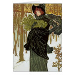 Vintage Christmas Art Nouveau Scribners Cover 1895 Greeting Card