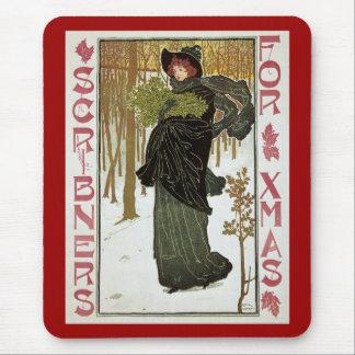 Vintage Christmas Art Nouveau Scribners Cover 1895 Mouse Pad