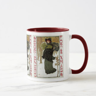 Vintage Christmas Art Nouveau Scribners Cover 1895 Mug