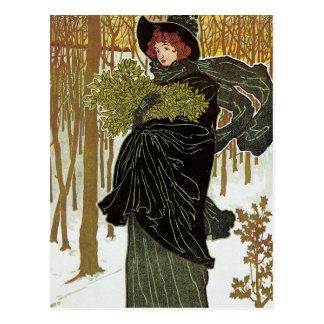 Vintage Christmas Art Nouveau Scribners Cover 1895 Postcard