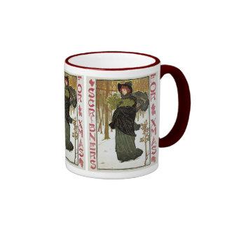 Vintage Christmas Art Nouveau Scribners Cover 1895 Ringer Mug