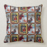 Vintage Christmas Art Pattern Throw Pillow