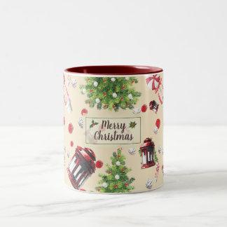 Vintage Christmas Art Pattern Two-Tone Coffee Mug