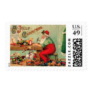 Vintage Christmas At Santa's Workshop Postage at Zazzle