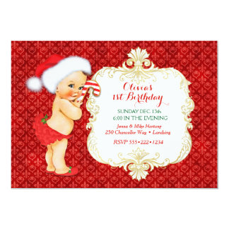 Vintage Christmas Baby Girl Birthday Shower Card