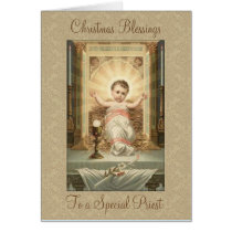 Vintage Christmas  Baby Jesus Tabernacle Priest Card