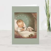 Vintage Christmas Baby With Lamb Holiday Card
