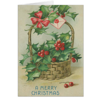 Vintage Christmas Basket with Holly Card