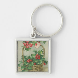 Vintage Christmas Basket with Holly Keychain