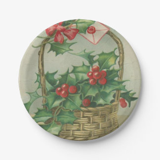 Vintage Christmas Basket with Holly Paper Plate