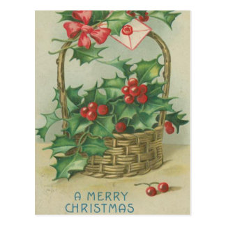 Vintage Christmas Basket with Holly Postcard