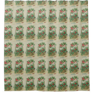 Vintage Christmas Basket with Holly Shower Curtain