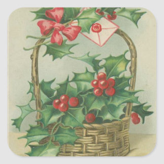 Vintage Christmas Basket with Holly Square Sticker