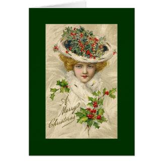 Vintage Christmas Beauty Greetings Card