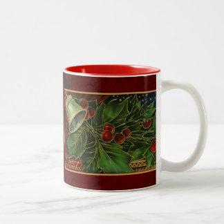 Vintage Christmas Bell and Holly Mugs