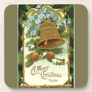 Vintage Christmas Bell and Pinecones Drink Coaster