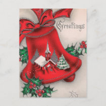 Vintage Christmas bell Holly Church postcard