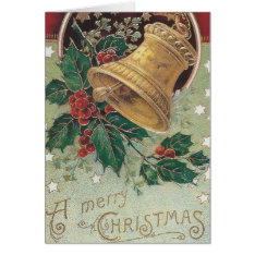 Vintage Christmas Bell With Holly Card at Zazzle