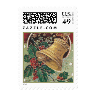 Vintage Christmas Bell with Holly Postage Stamp