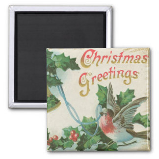 Vintage Christmas Bells and Bird Magnet