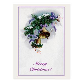 Vintage Christmas bells and decoration Postcard