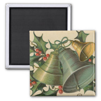 Vintage Christmas Bells and Holly 2 Inch Square Magnet