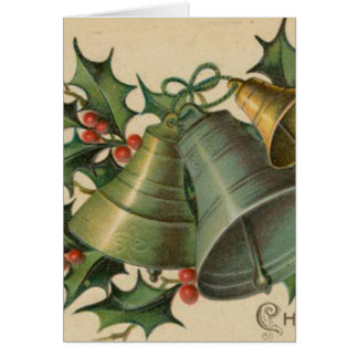 Vintage Christmas Bells and Holly Greeting Card