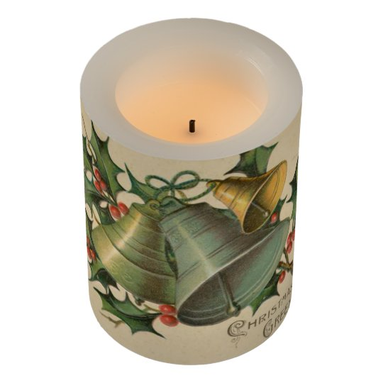 Vintage Christmas Bells And Holly Flameless Candle