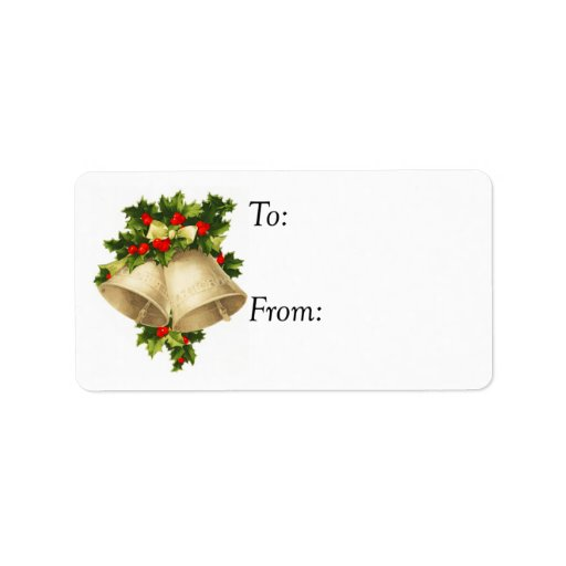 Vintage christmas bells and holly gift tag label zazzle