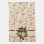 Vintage Christmas Bells and Holly Kitchen Towel