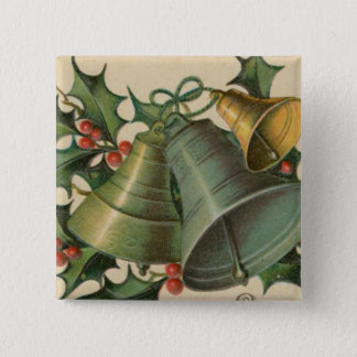Vintage Christmas Bells and Holly Pinback Button