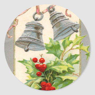 Vintage Christmas Bells and Holly Stickers
