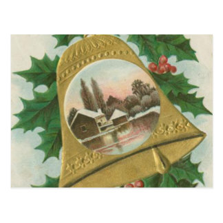 Vintage Christmas Bells and Town Postcard
