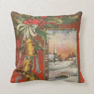 Vintage Christmas Bells and Winter Village Throw Pillow