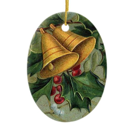 Vintage christmas bells double sided oval ceramic