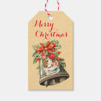 Vintage Christmas Bells Holiday Gift Tags