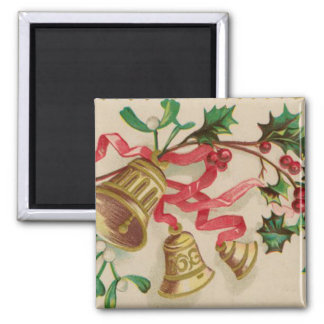 Vintage Christmas Bells, Ribbons and Holly 2 Inch Square Magnet