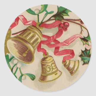 Vintage Christmas Bells Ribbons and Holly Round Sticker