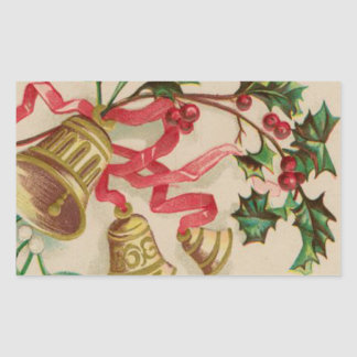 Vintage Christmas Bells Ribbons and Holly Rectangular Stickers