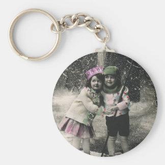 Vintage Christmas, Best Friends on Skis Basic Round Button Keychain