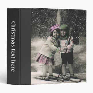 Vintage Christmas, Best Friends on Skis 3 Ring Binders