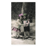 Vintage Christmas, Best Friends on Skis Double-Sided Standard Business Cards (Pack Of 100)